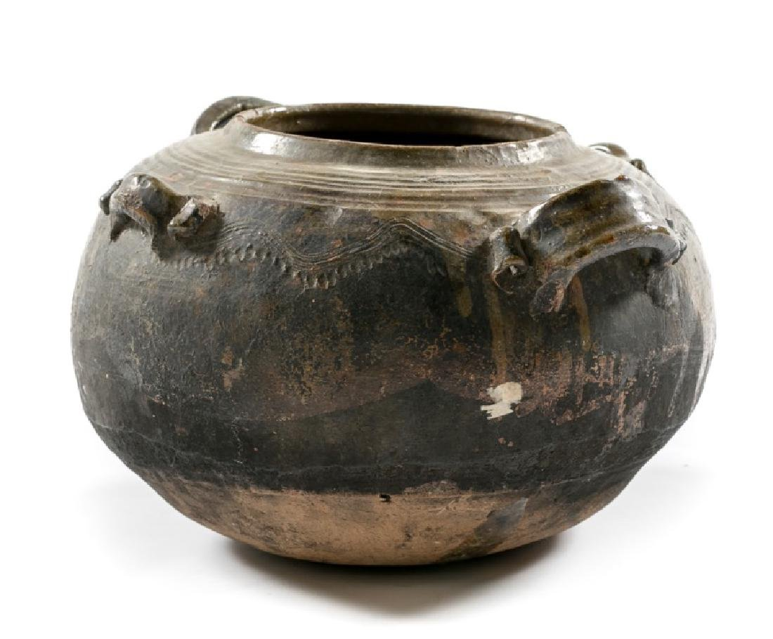 Pit Fired Pottery Bowl with Green Glaze