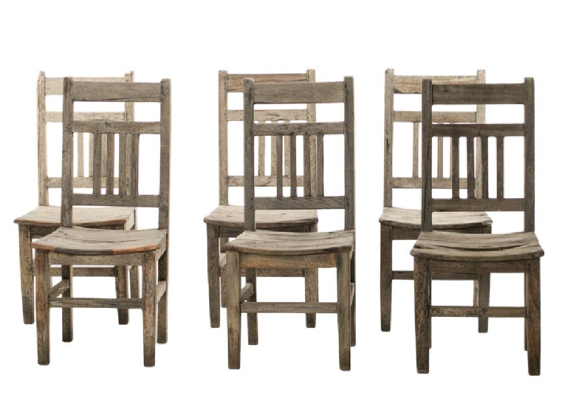 Set of Six Rustic Teak Mission Style Dining Chairs