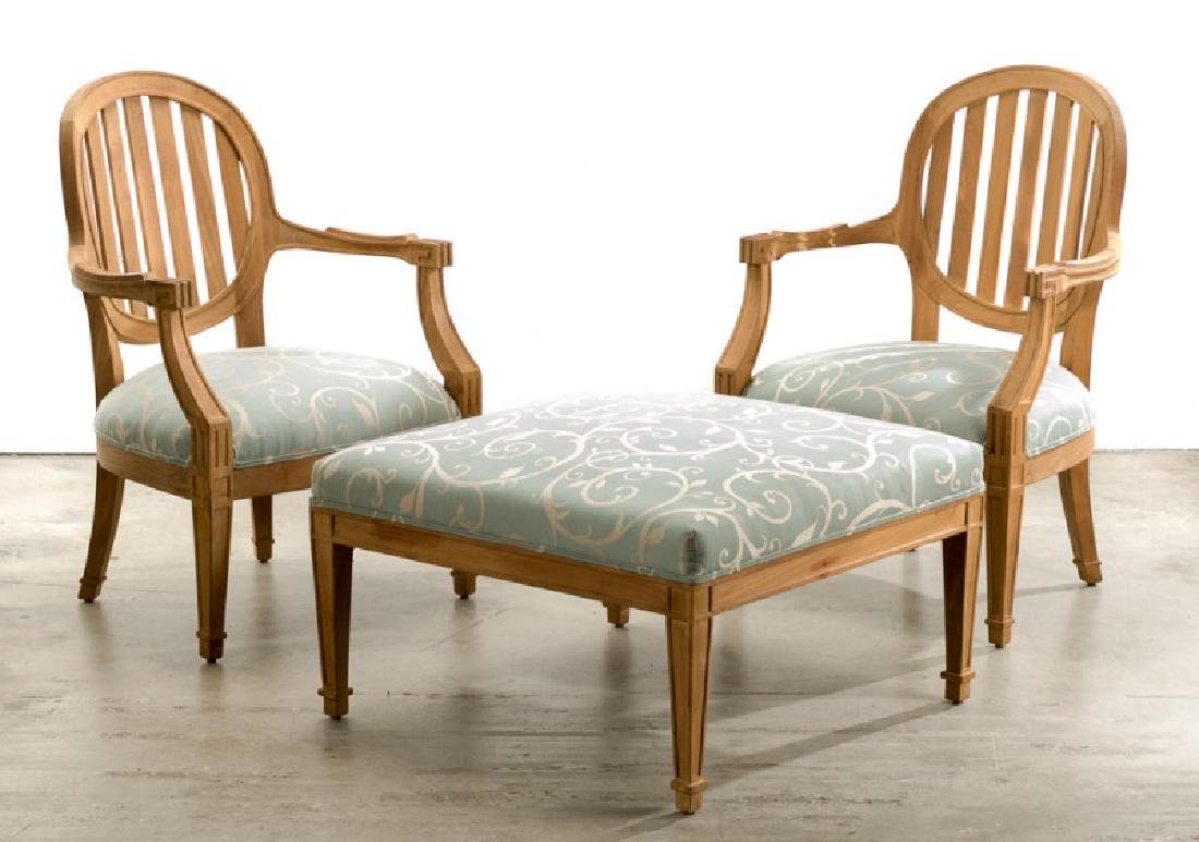 Pair of Upholstered Teak Armchairs & Ottoman