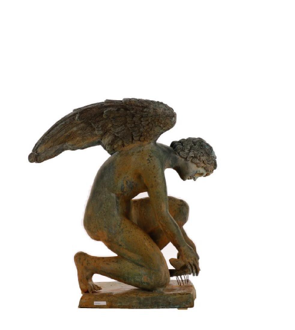 """Large Bronze Garden Sculpture, """"Crouching Sprite"""" - 4"""