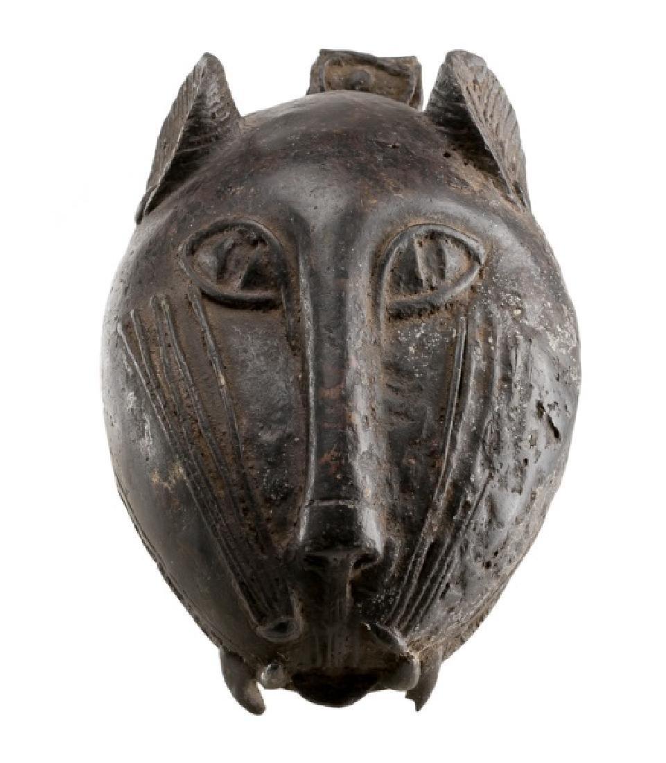 19th C. Benin African Bronze Leopard Head