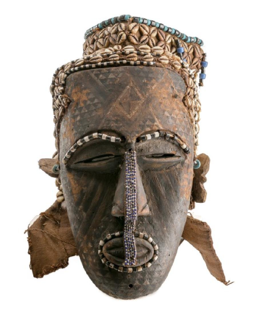 African Kuba Wood Carved Helmet Mask with Beading