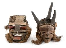 Two Carved Wood African Tribal Masks