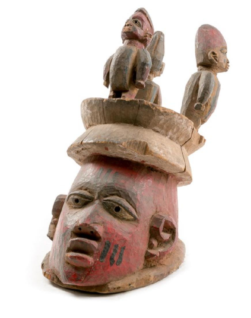 Carved Wood Figural Crown African Mask