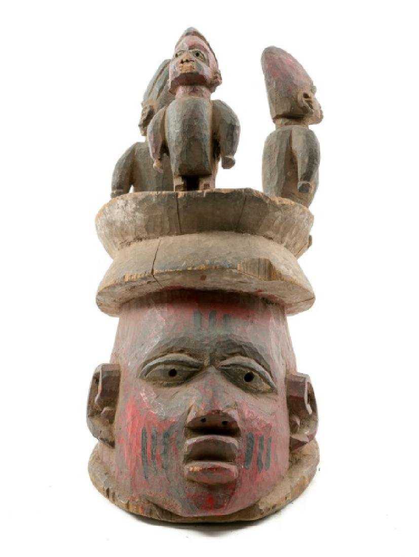 Carved Wood Figural Crown African Mask - 2