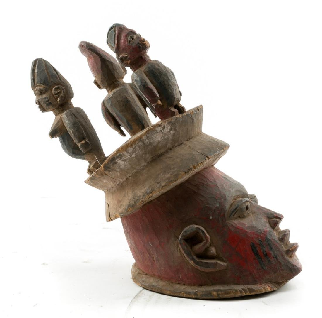 Carved Wood Figural Crown African Mask - 3