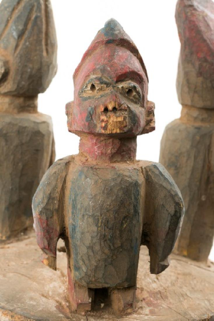 Carved Wood Figural Crown African Mask - 5
