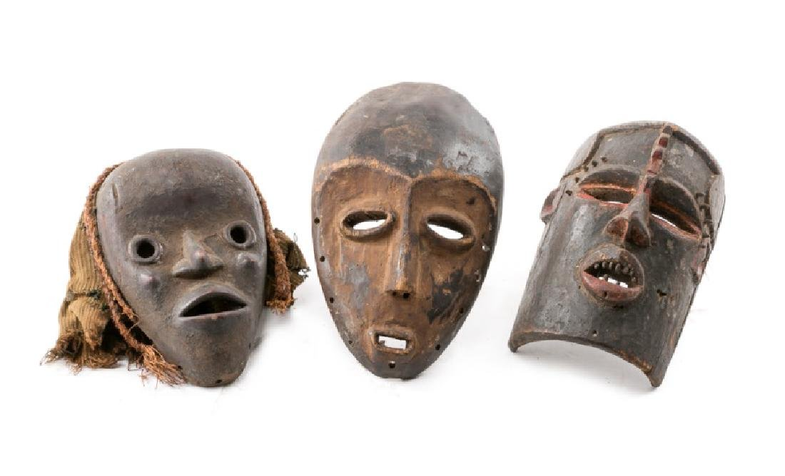 Group of 3 Carved Wood African Tribal Masks