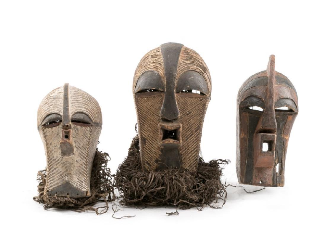 3 African Songye-Luba Kifwebe Helmet Masks