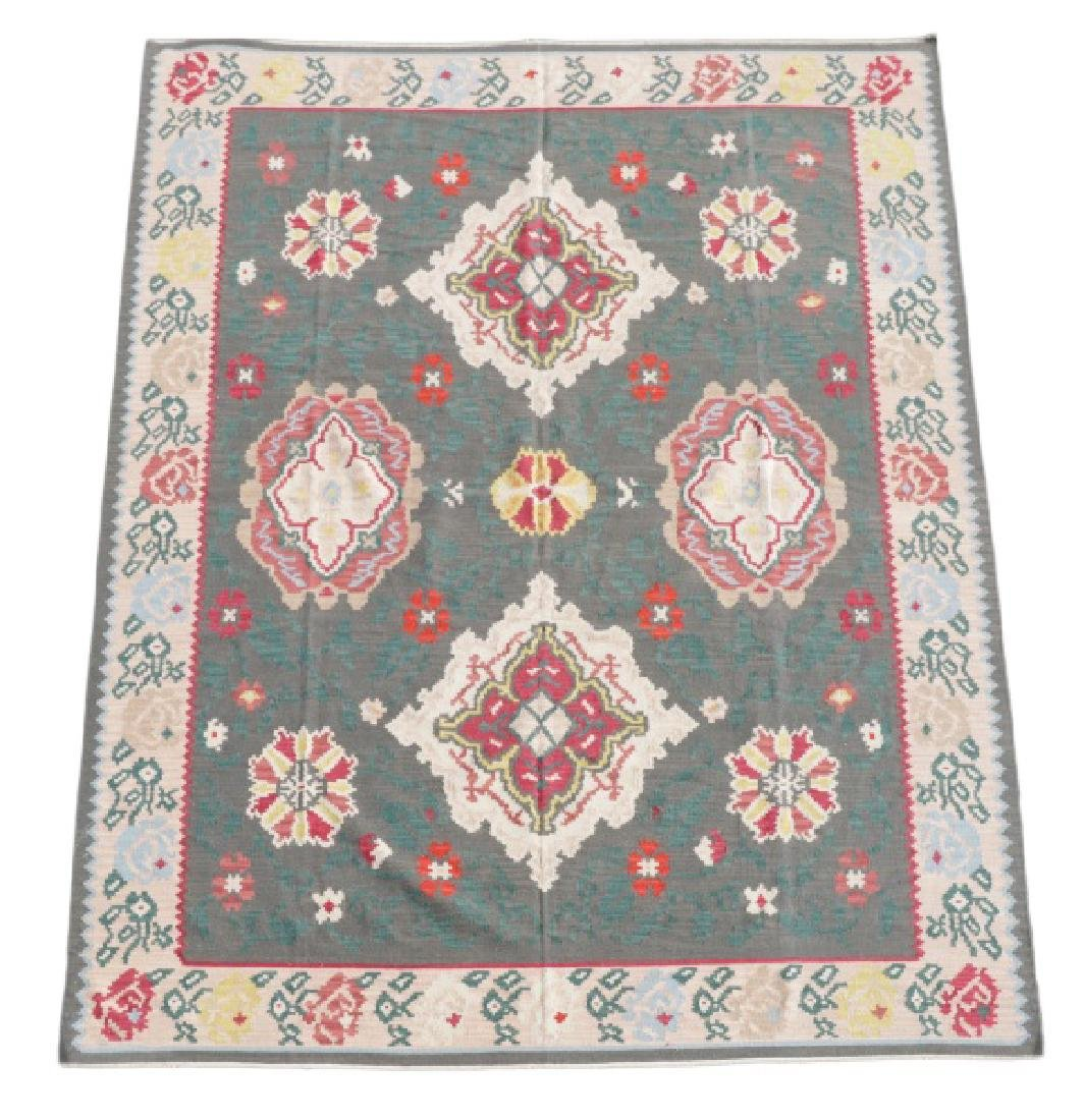 Large Hand Woven Kilim Flat-Weave Area Rug