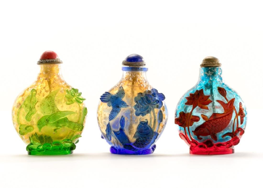 Set of Three Colorful Peking Glass Snuff Bottles