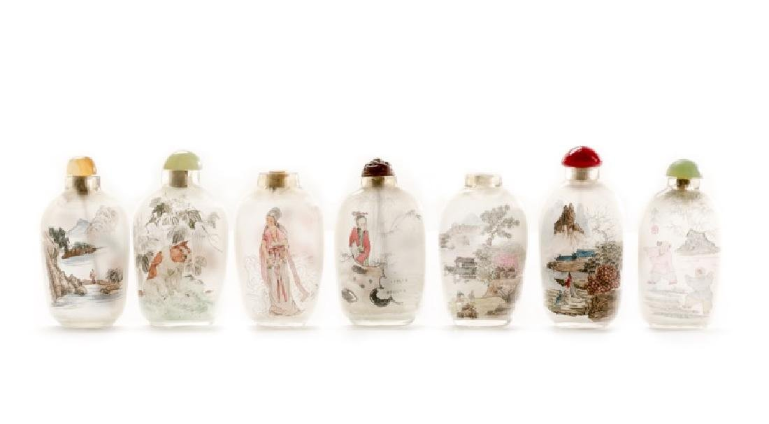 Group of 7 Chinese Reverse Painted Snuff Bottles