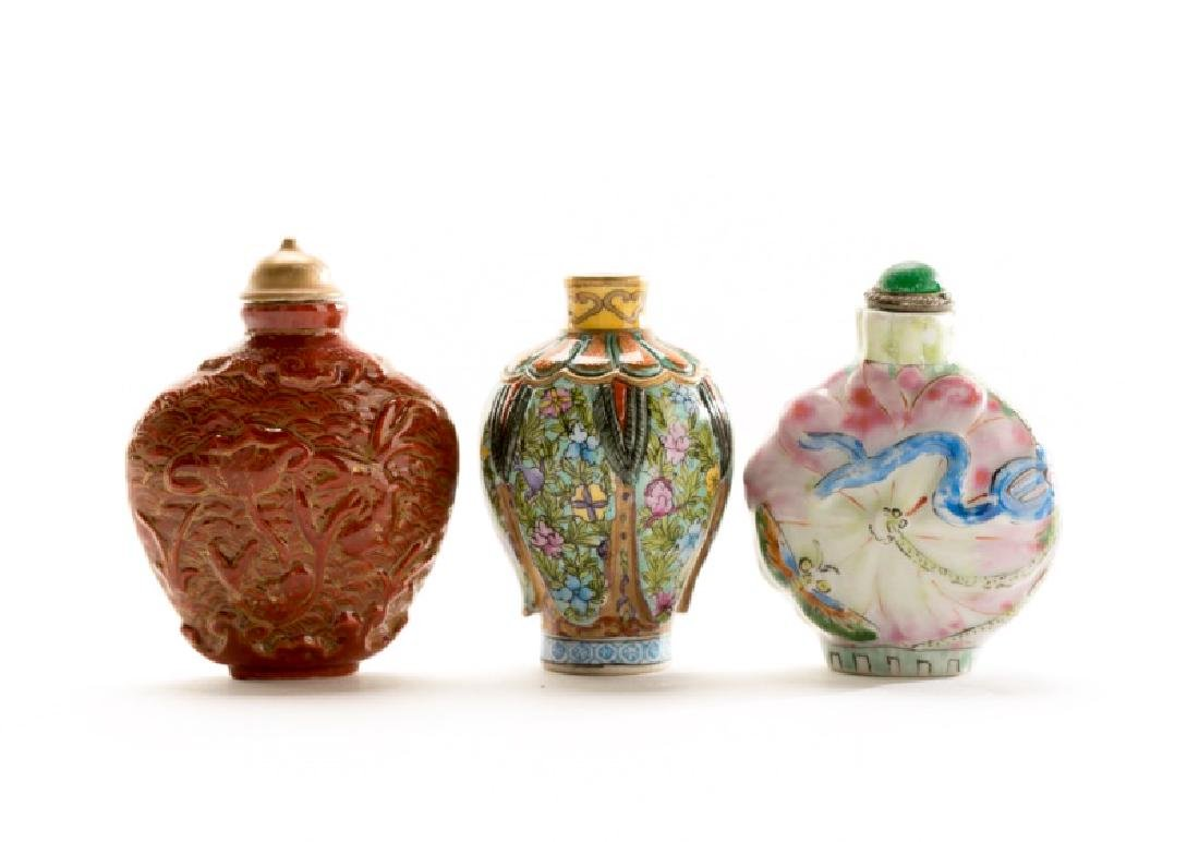 Group of 3 Hand Painted Porcelain Snuff Bottles