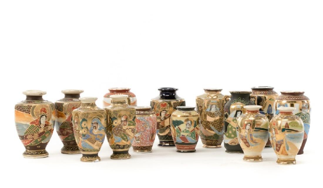 Group of 14 Small Satsuma Vases