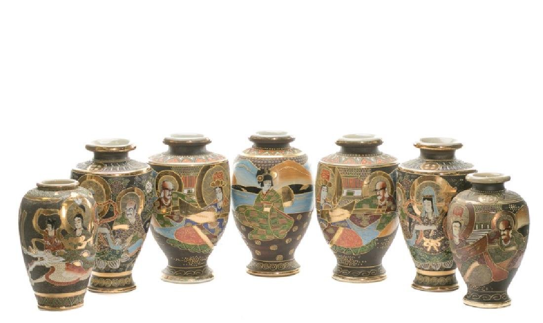 Group of 7 Satsuma Vases, 2 Pair & 3 Singles