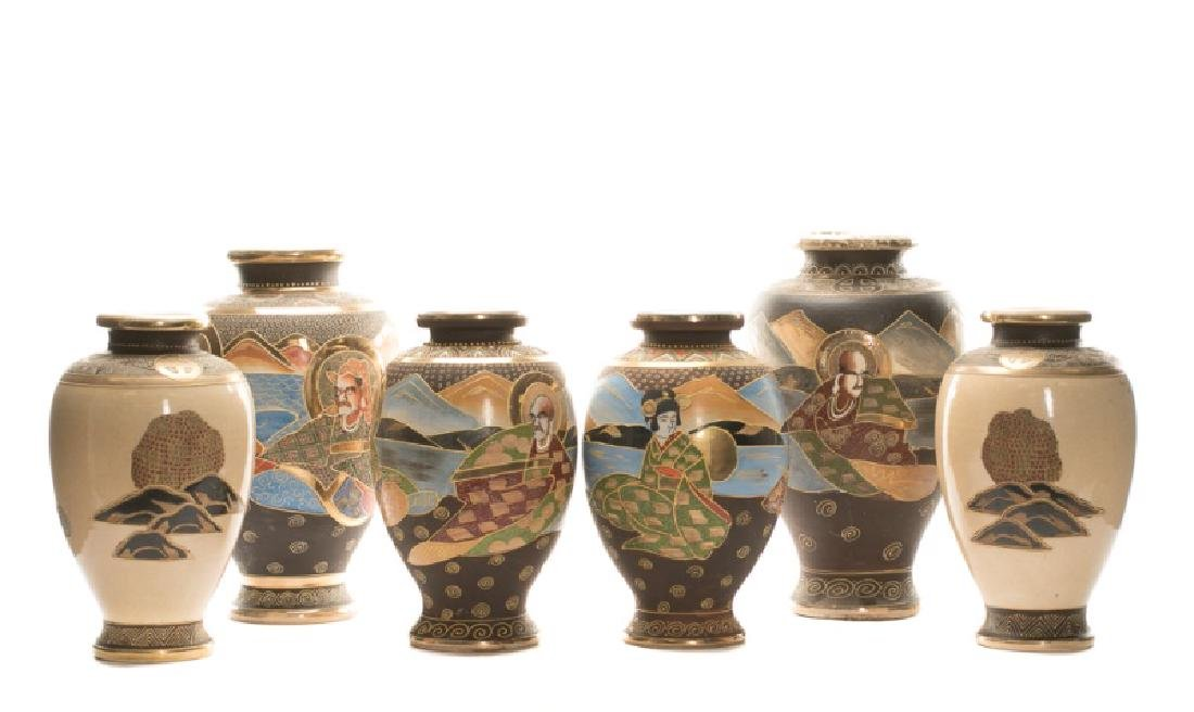 Group of 6 Satsuma Vases Including 1 Pair