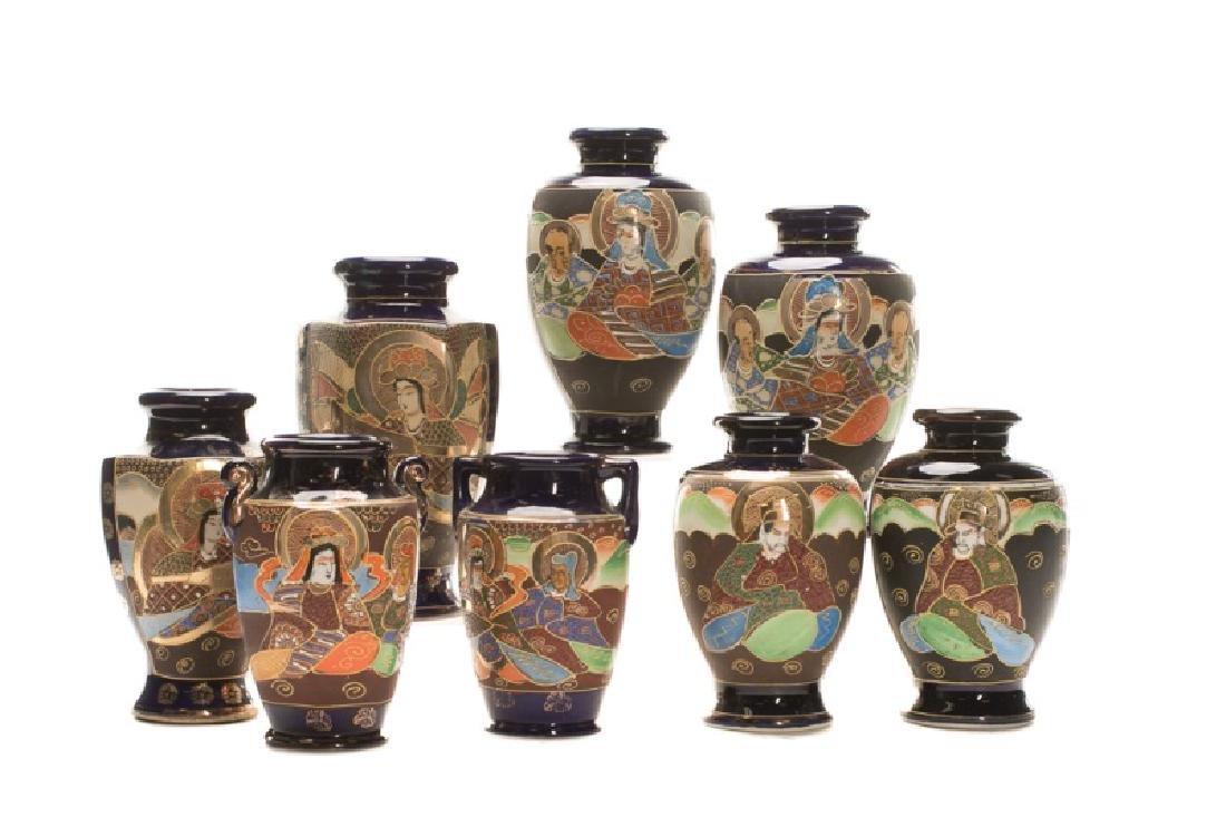 Group of 8 Gosu Blue Style Satsuma Vases