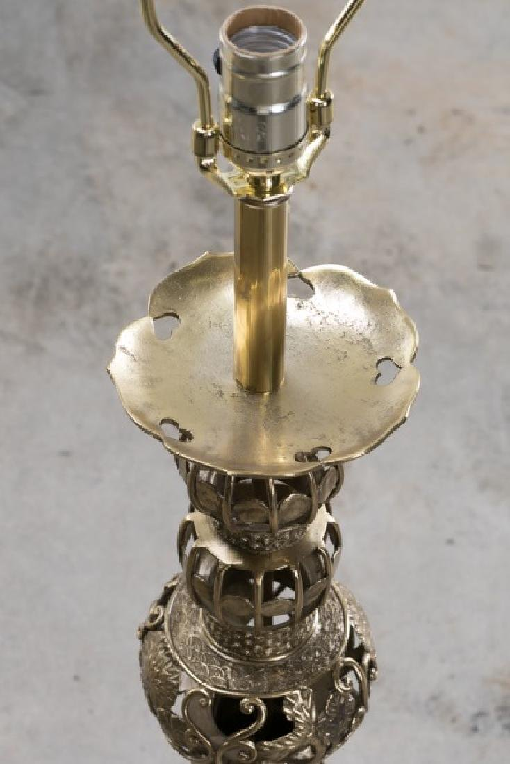 Pair, Large Openwork Brass Chinese Table Lamps - 3