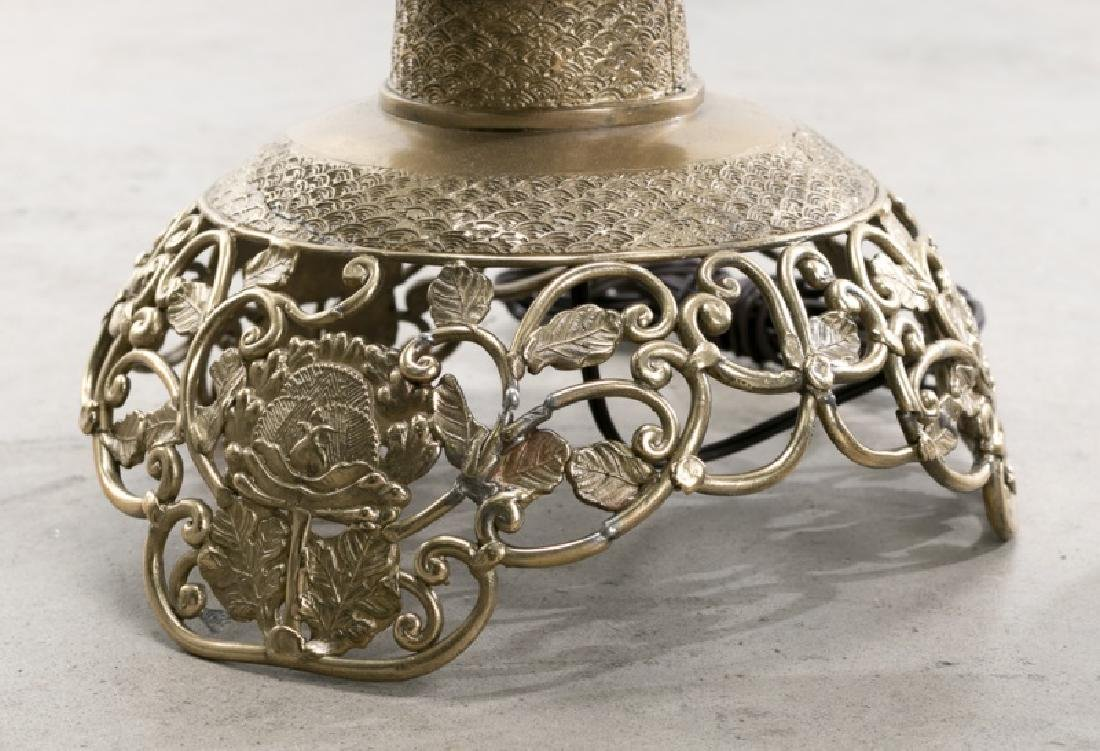 Pair, Large Openwork Brass Chinese Table Lamps - 4