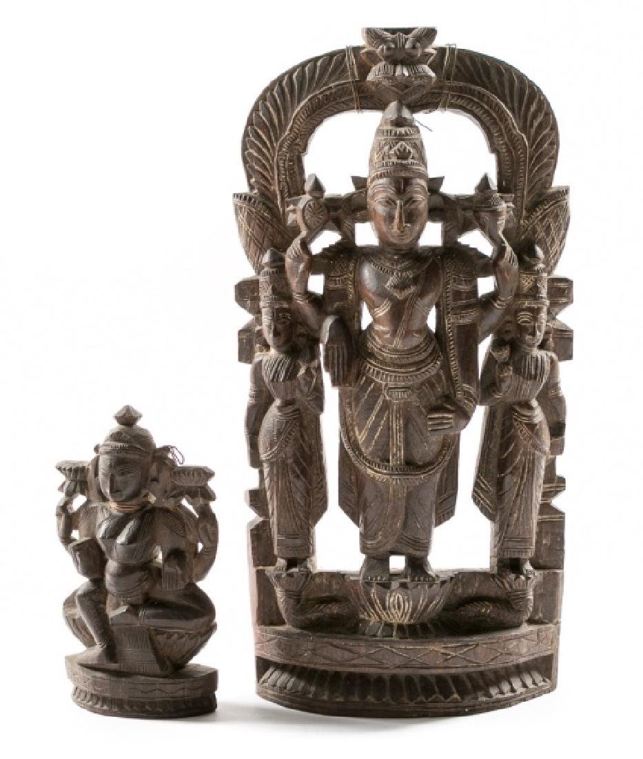 Two Southeast Asian Carved Deity Sculptures