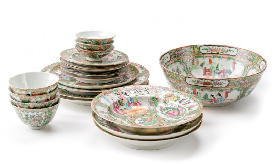 17 Piece Rose Medallion Dinnerware & Punchbowl