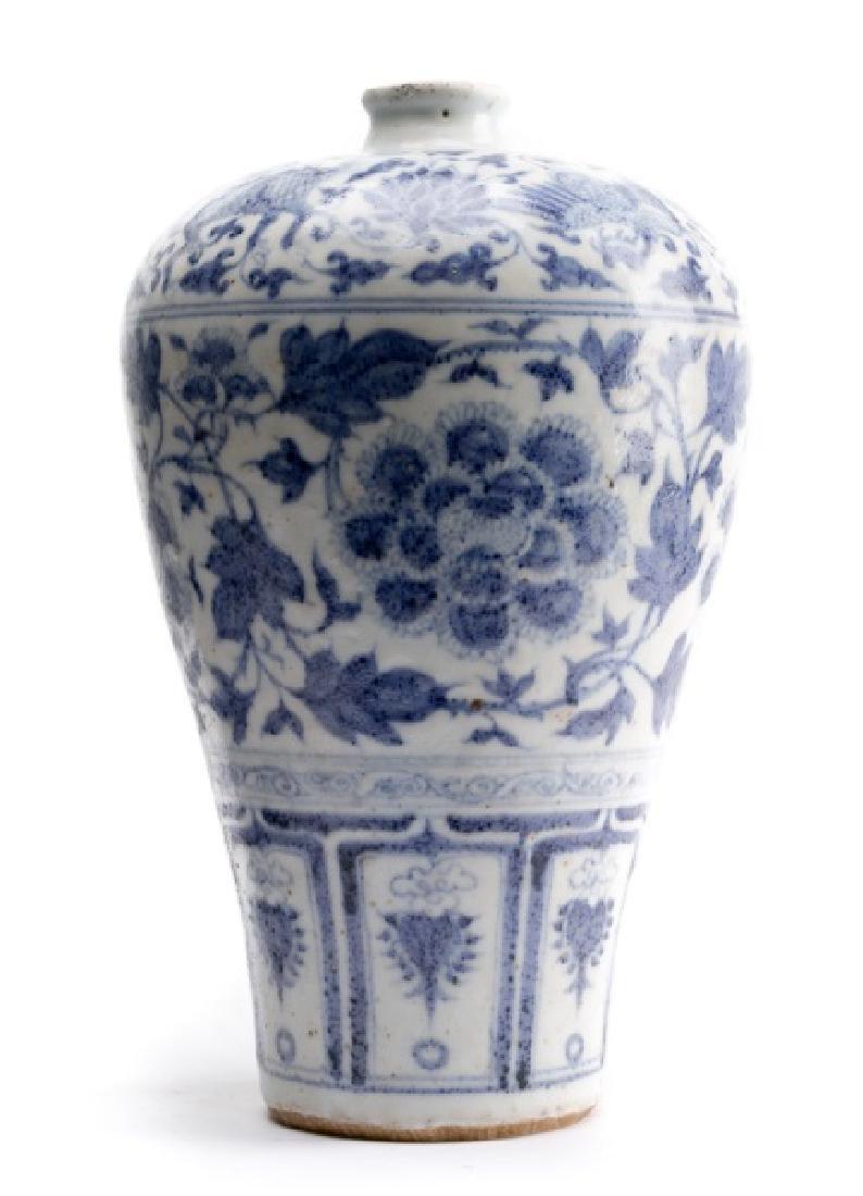 Chinese Yuan Dynasty Style Blue & White Vase