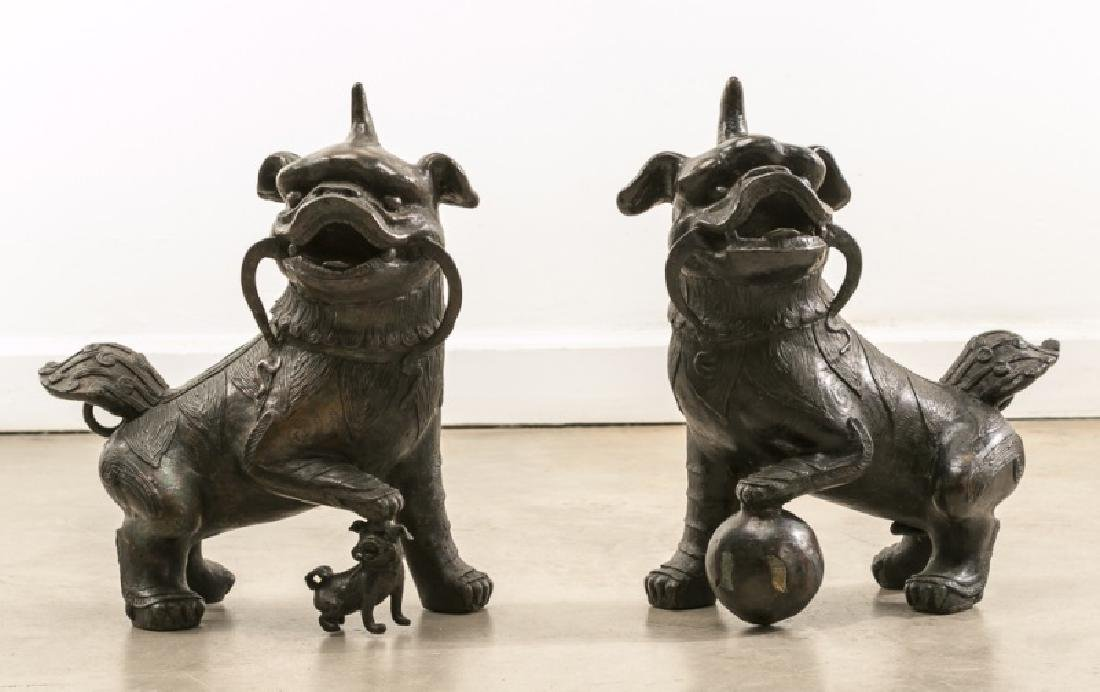 Pair of Fine Large Bronze Horned Foo Dogs