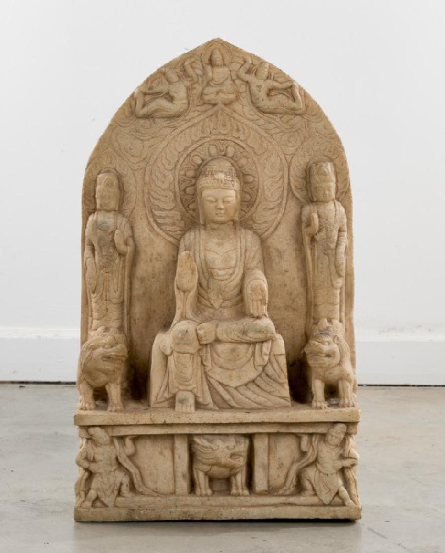 Chinese Carved Stone Buddhist Funerary Sculpture