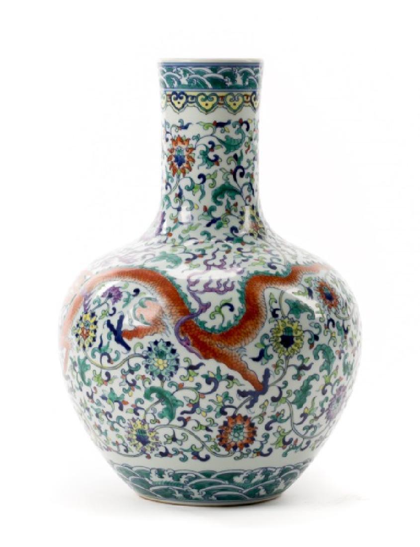 Chinese Qianlong Ducai Glazed Bottle Vase