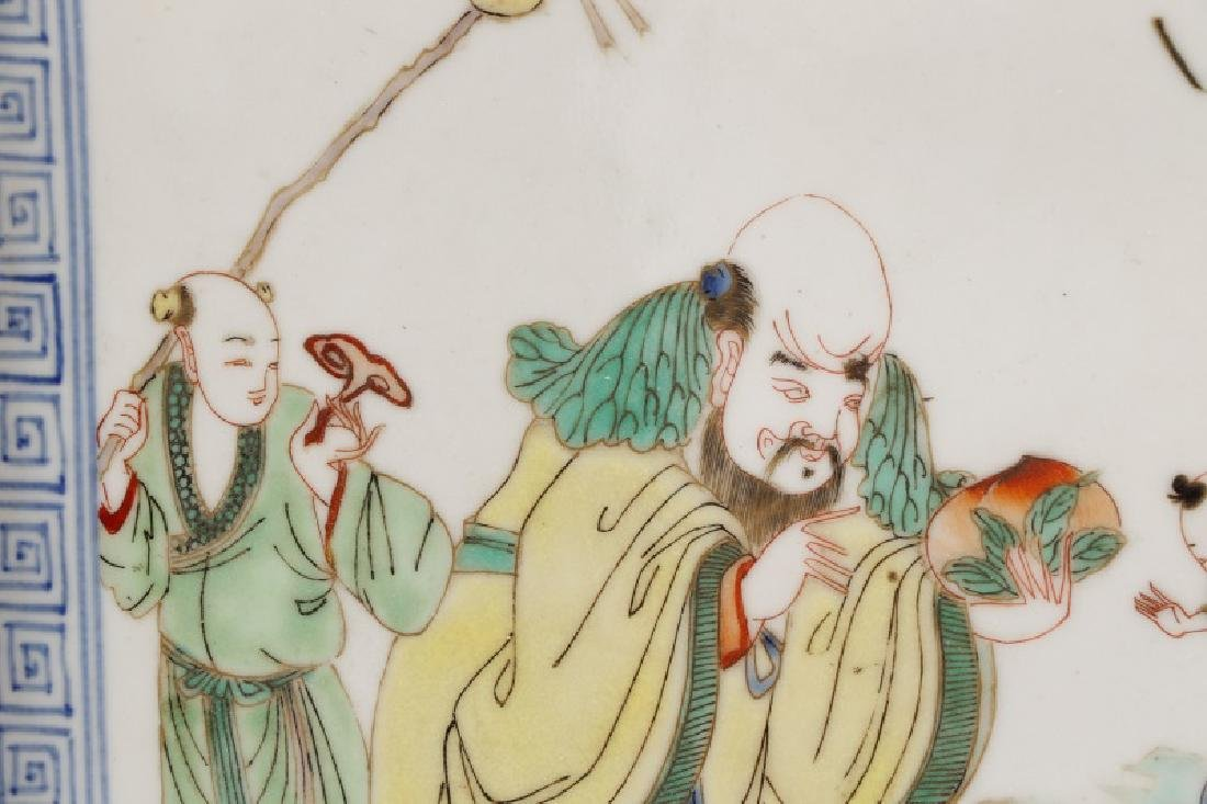 Chinese Porcelain Plaque Depicting Fu, Lu & Shou - 2