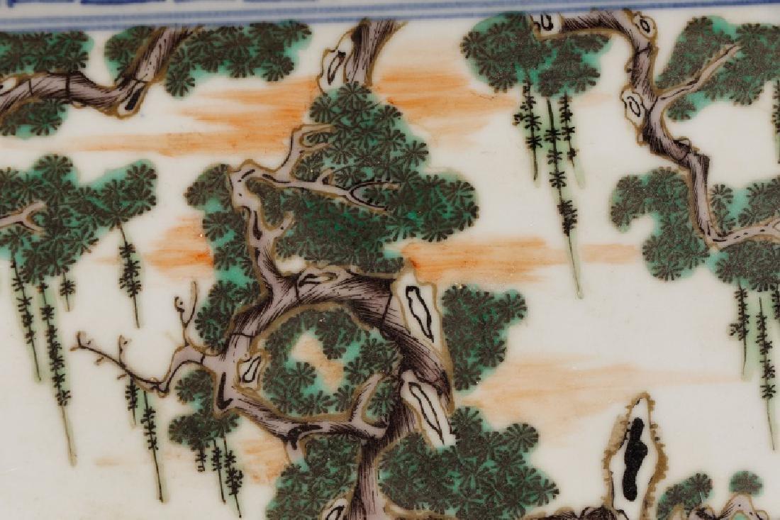 Chinese Porcelain Plaque Depicting Fu, Lu & Shou - 7