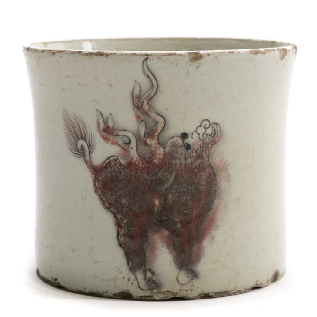 Chinese Kangxi Brush Pot, C.T Loo Paris Label