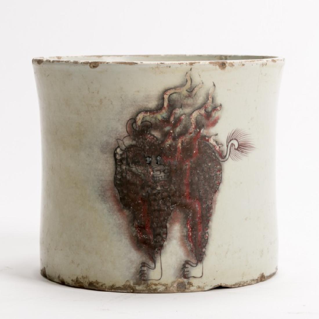 Chinese Kangxi Brush Pot, C.T Loo Paris Label - 2
