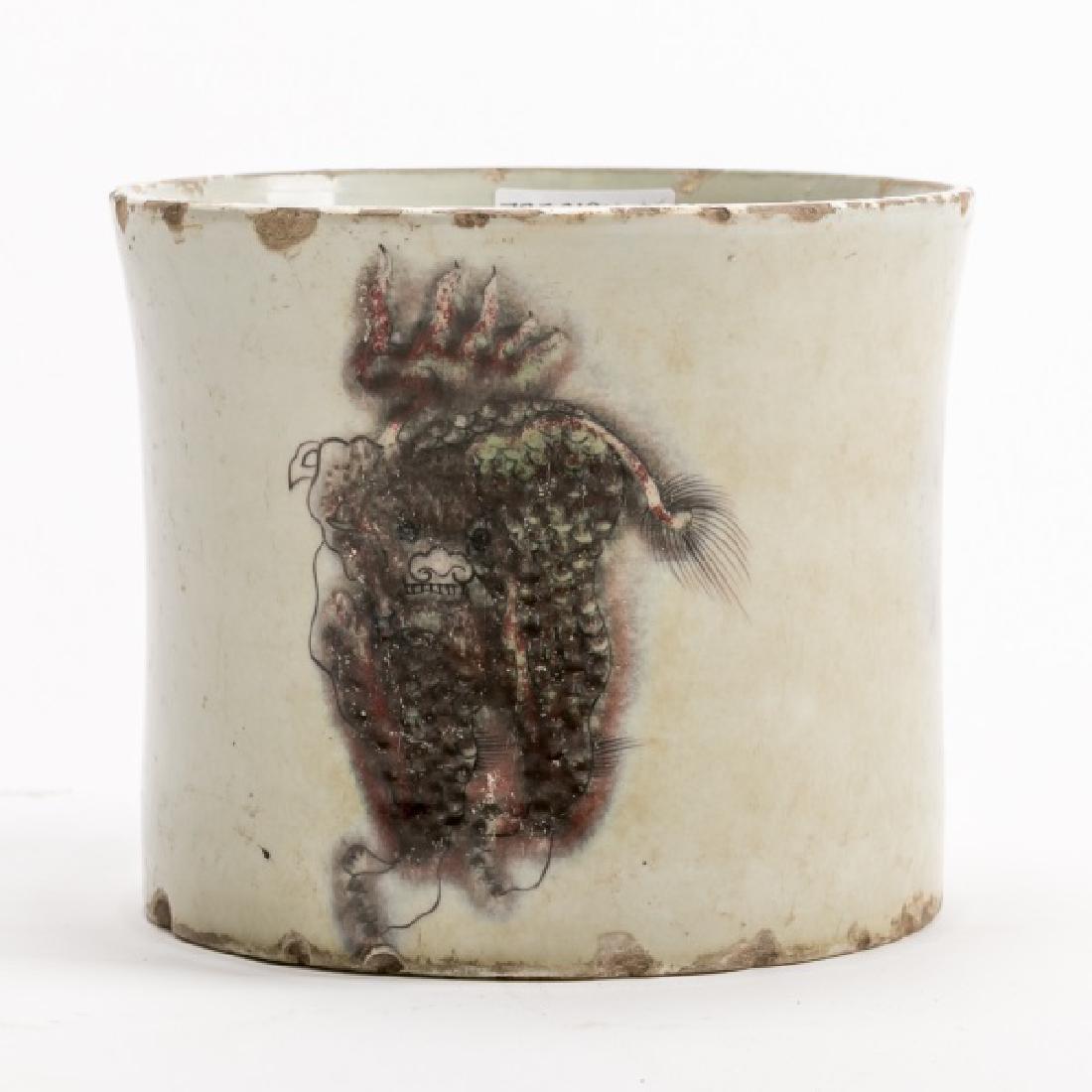 Chinese Kangxi Brush Pot, C.T Loo Paris Label - 3
