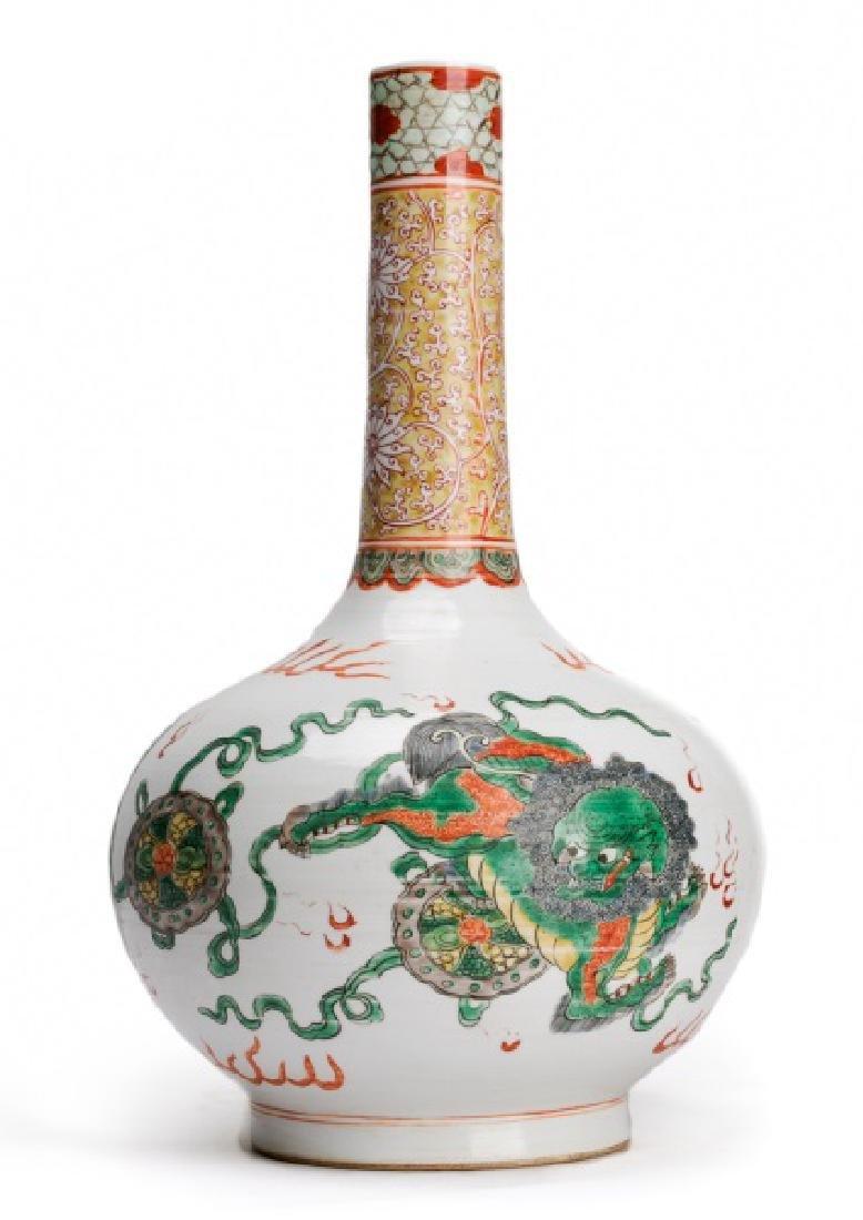 Chinese Kangxi Mark Famille Verte Bottle Vase