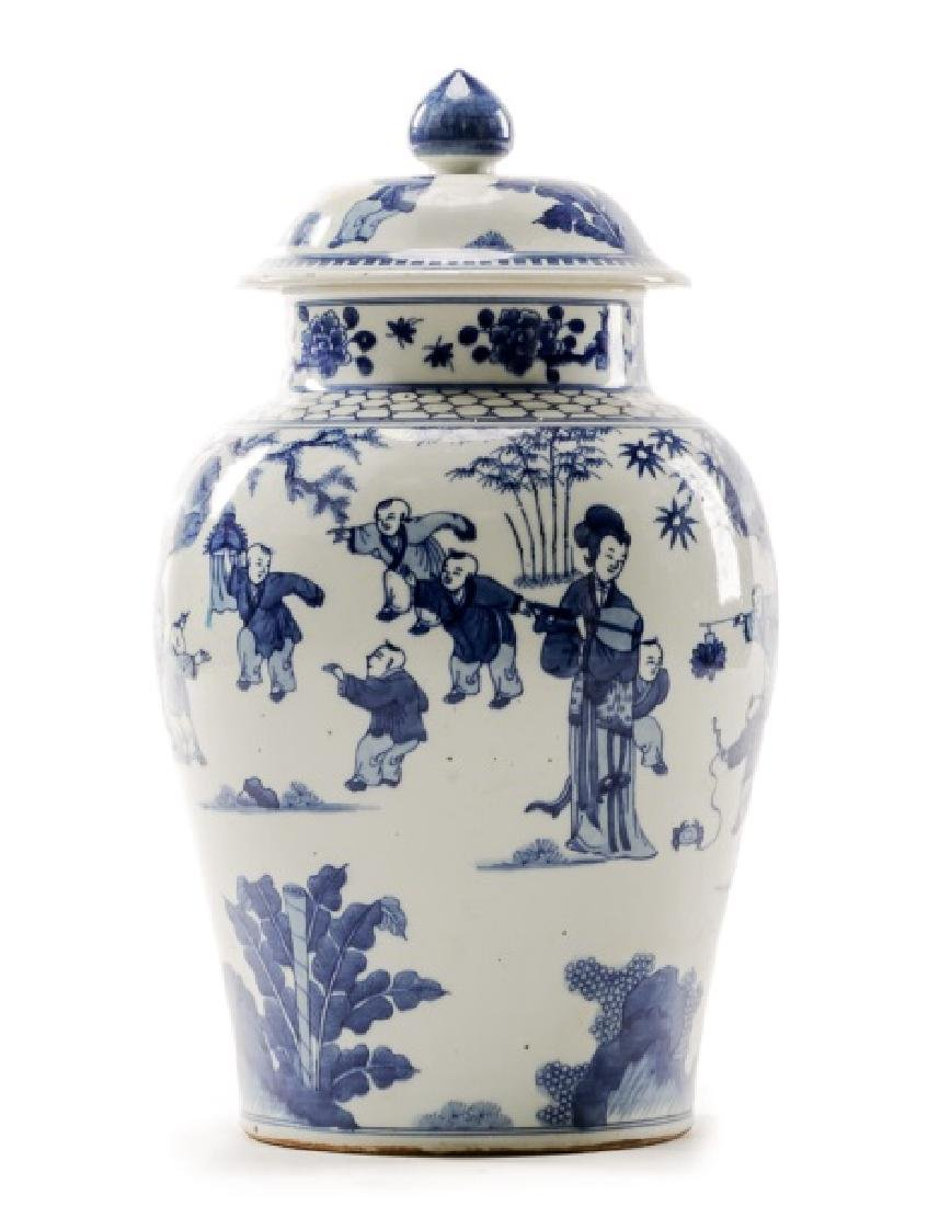 Chinese Blue & White Figural Lidded Temple Jar