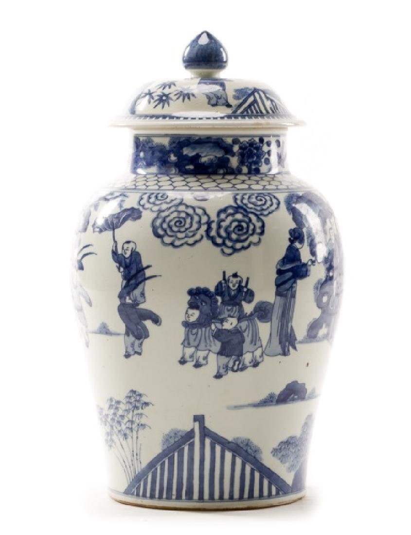 Chinese Blue & White Figural Lidded Temple Jar - 2