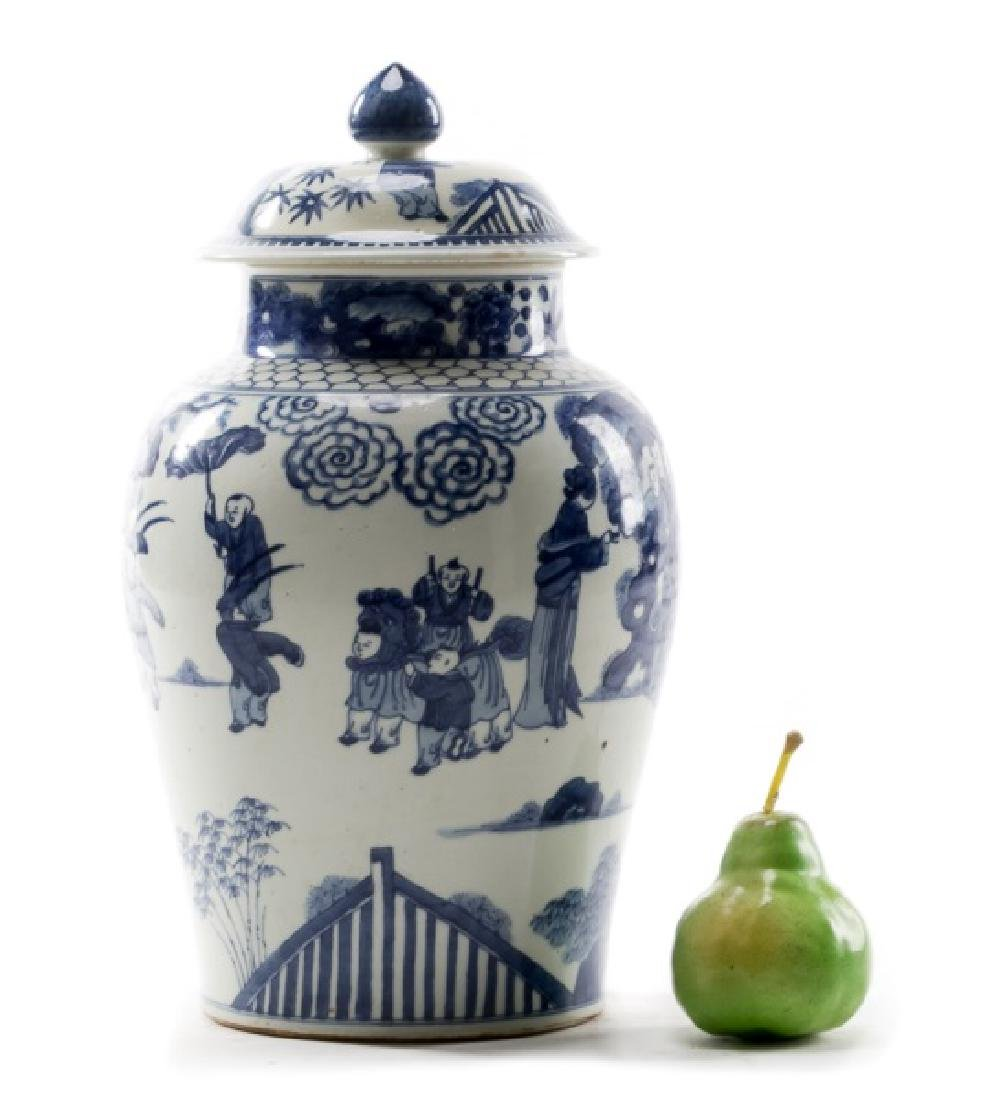 Chinese Blue & White Figural Lidded Temple Jar - 4