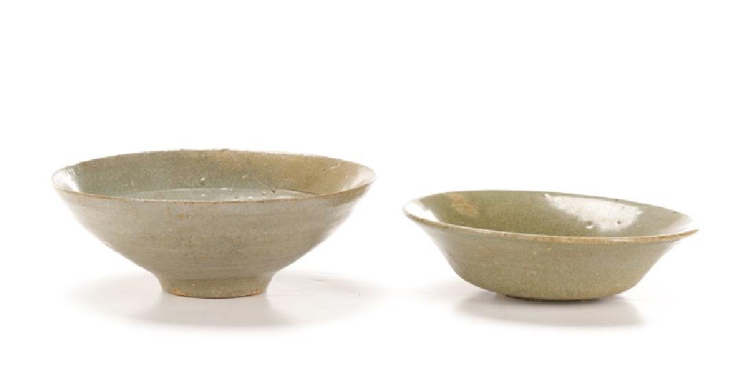 Collection of Two Asian Celadon Glazed Bowls