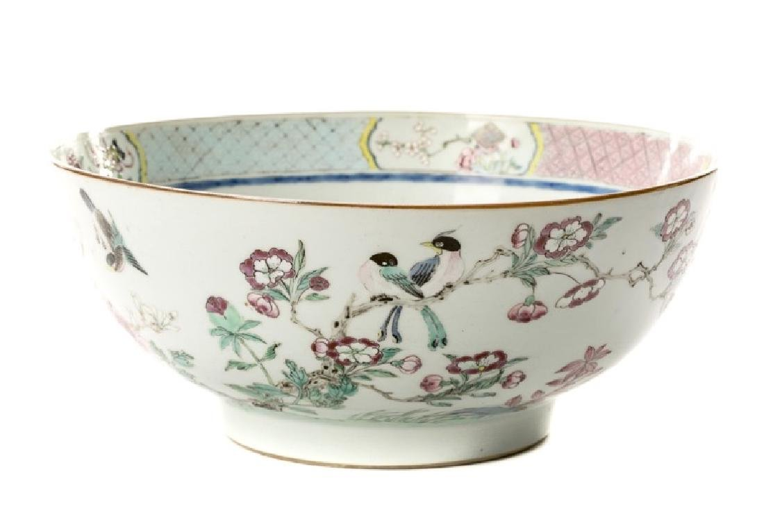 Chinese Floral Motif Punch Bowl, 19th/20th C.