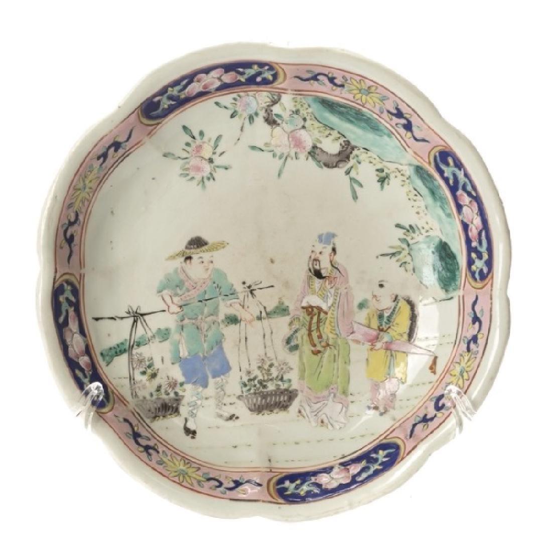 Chinese Porcelain Low Bowl, Figural Motif, Marked