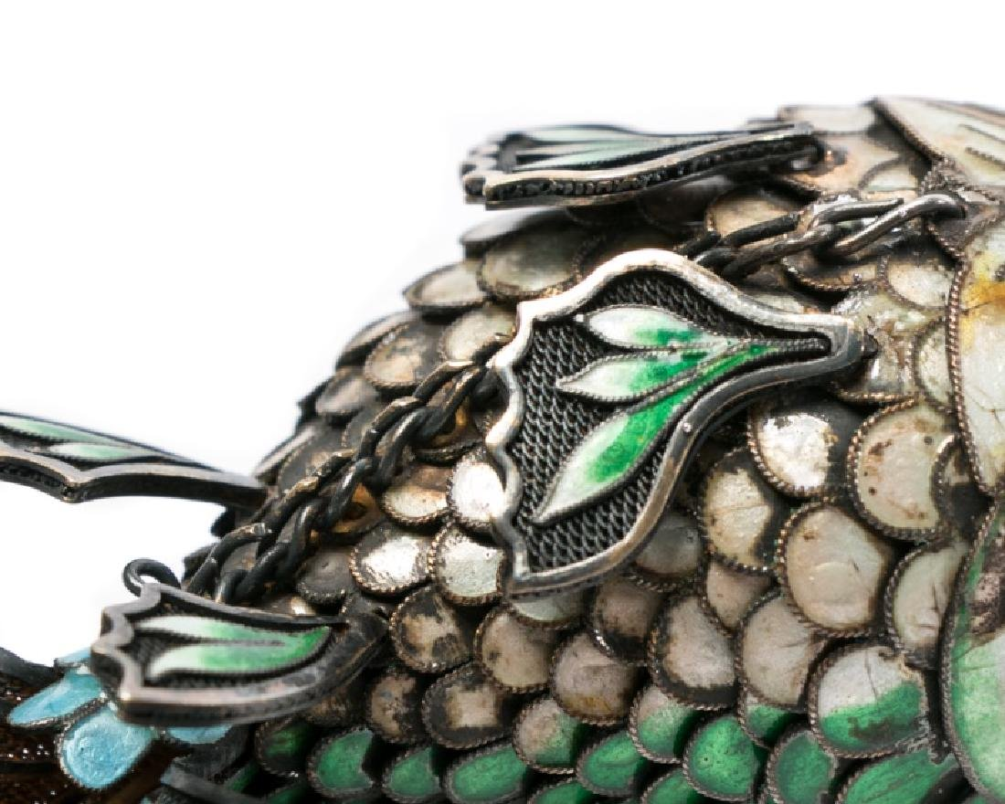 Chinese Silver & Cloisonne Reticulated Fish - 10