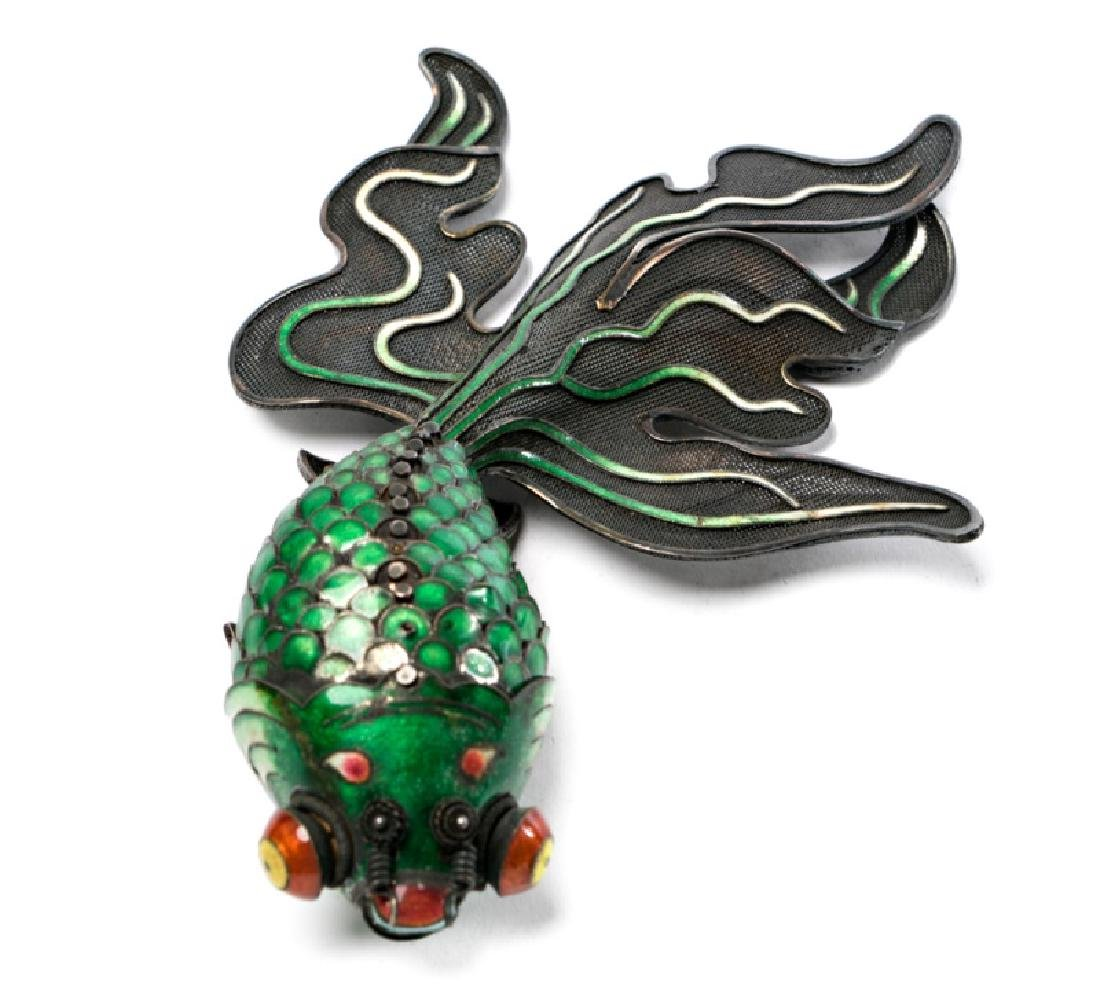 Chinese Silver & Cloisonne Reticulated Fish