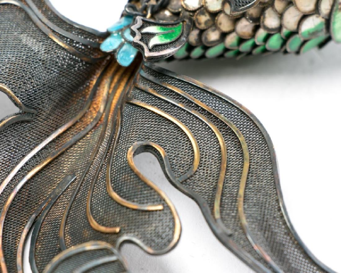 Chinese Silver & Cloisonne Reticulated Fish - 2