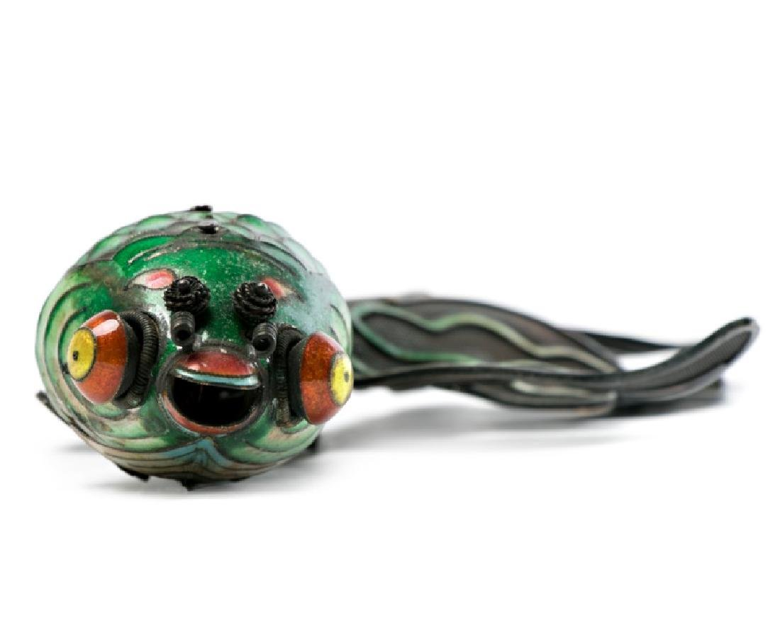 Chinese Silver & Cloisonne Reticulated Fish - 3
