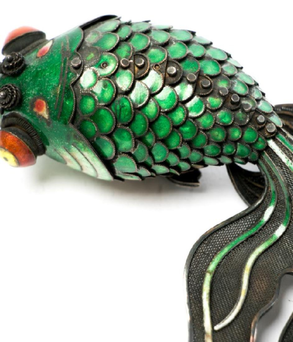 Chinese Silver & Cloisonne Reticulated Fish - 6