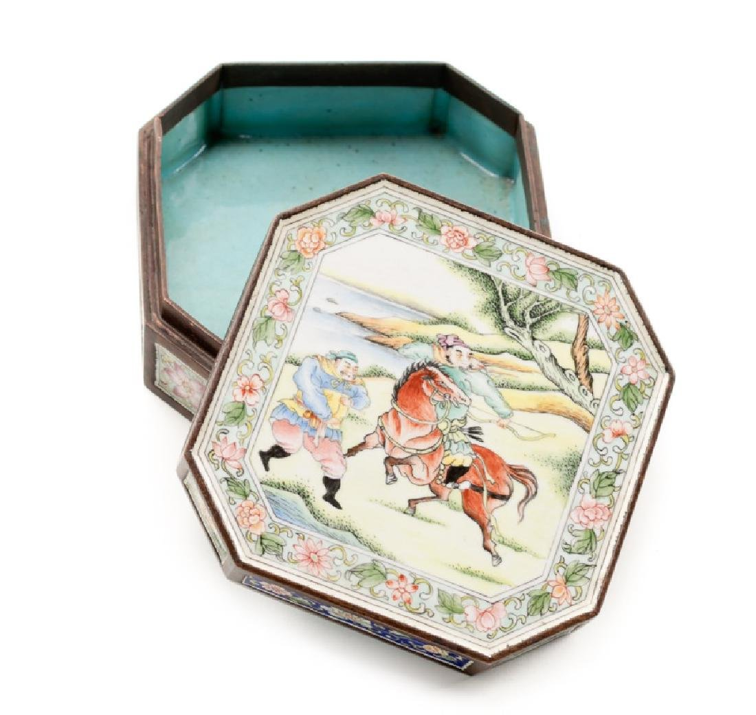 Chinese Qing Dynasty Bronze & Enamel Box