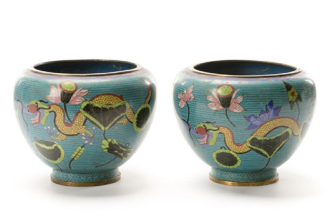 Pair, Cloisonne Five Toed Dragon Vases