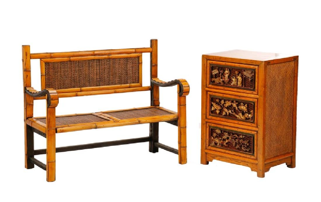 Chinese Rattan Bench & Small Chest