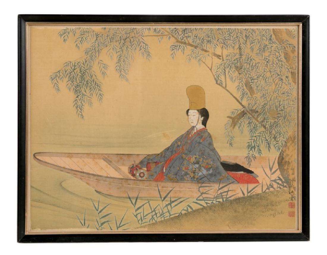 Japanese Figural Work on Silk, Woman in Boat